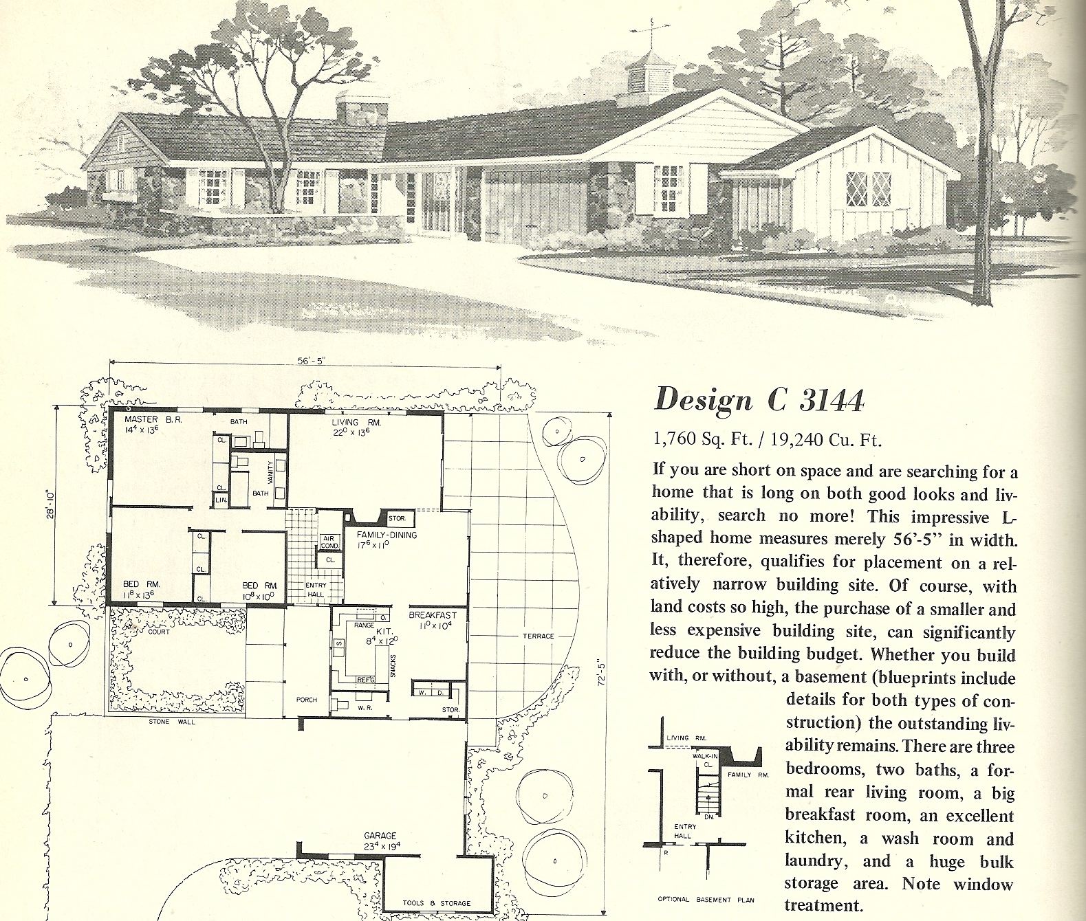 Vintage house plans 3144 antique alter ego - T shaped house plans ...