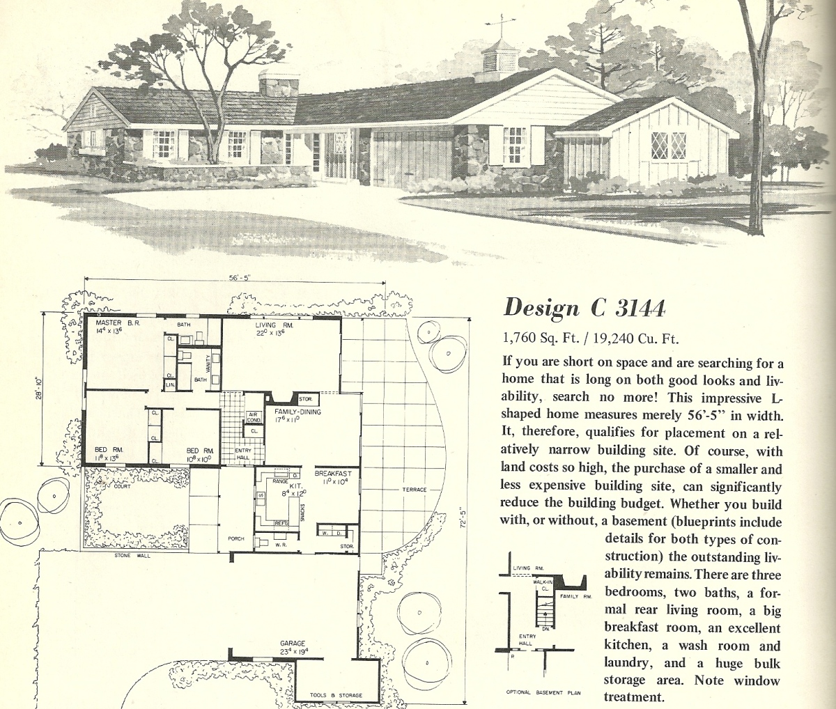 Vintage house plans 3144 antique alter ego for T shaped house design