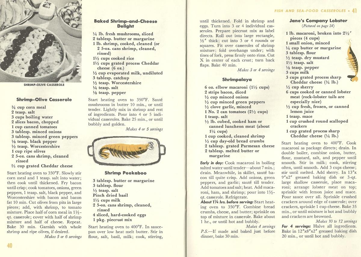 Vintage Recipes, casseroles