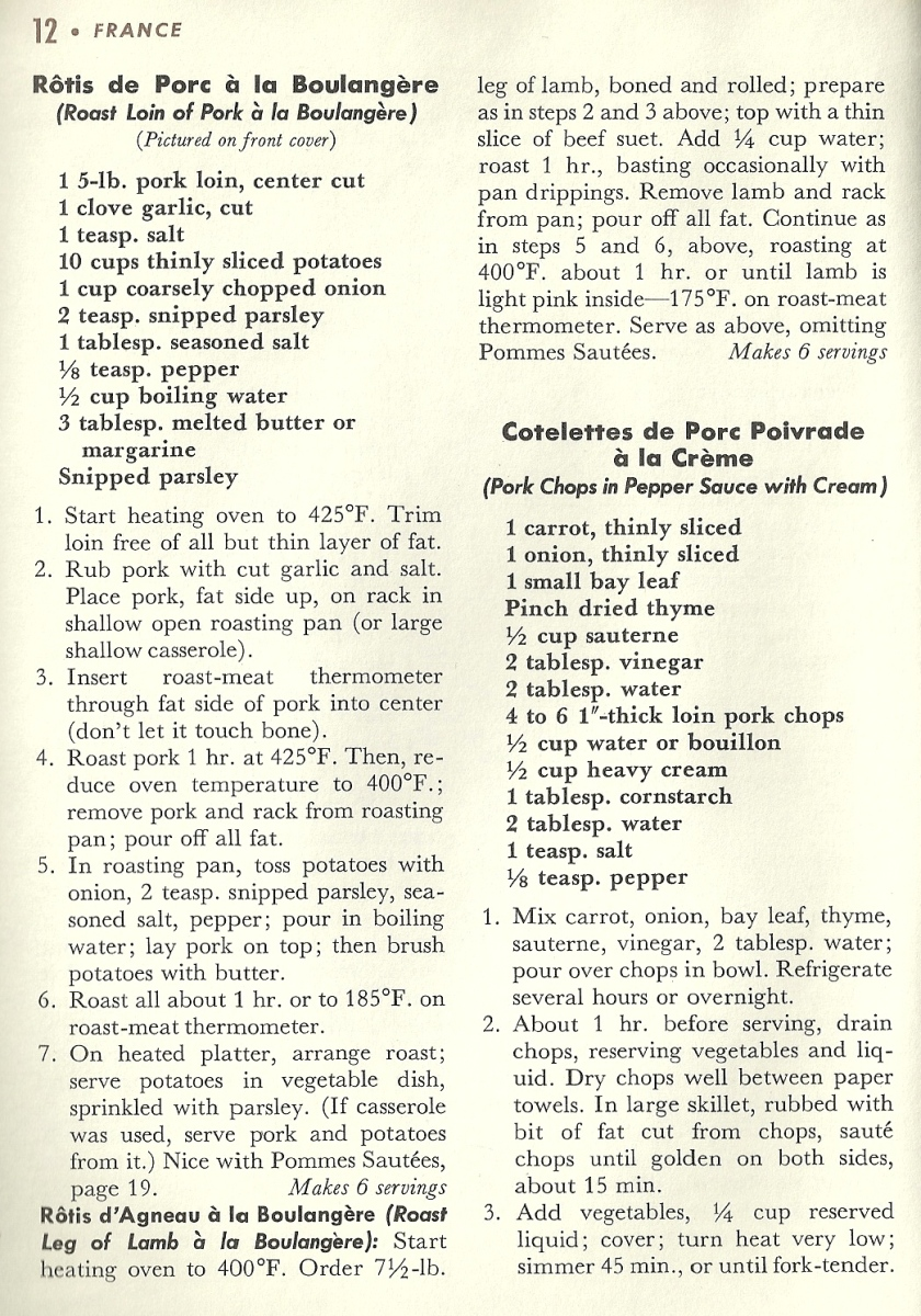 Vintage French Recipes