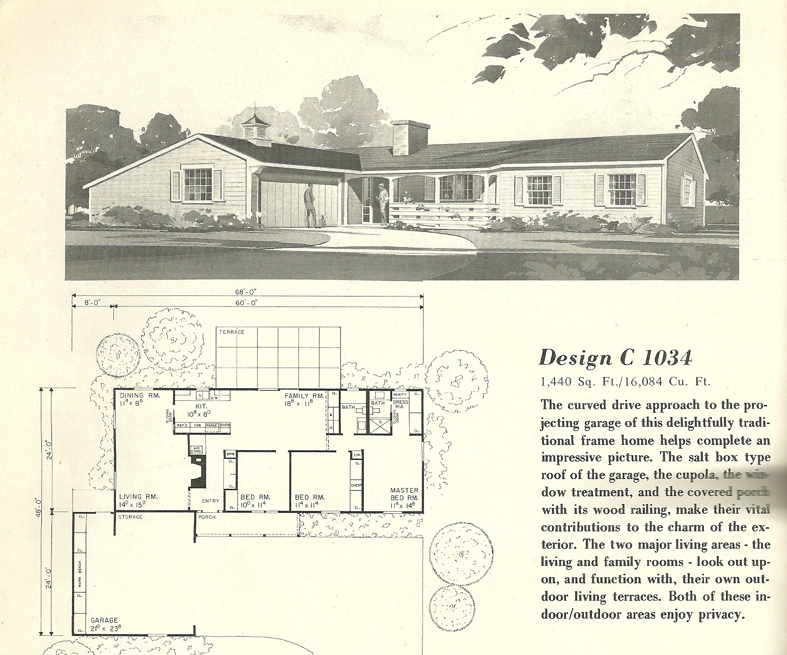 Vintage house plans 1034 antique alter ego for Vintage floor plans