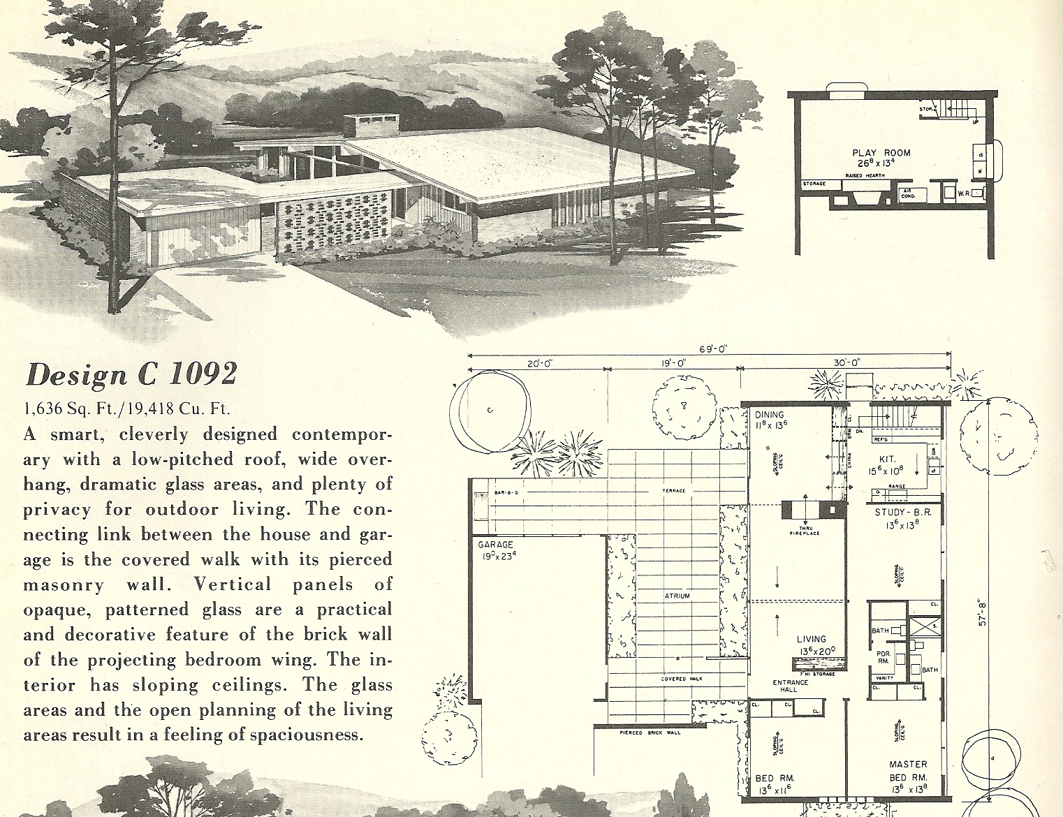 Vintage house plans 1092 antique alter ego for Mid century modern blueprints