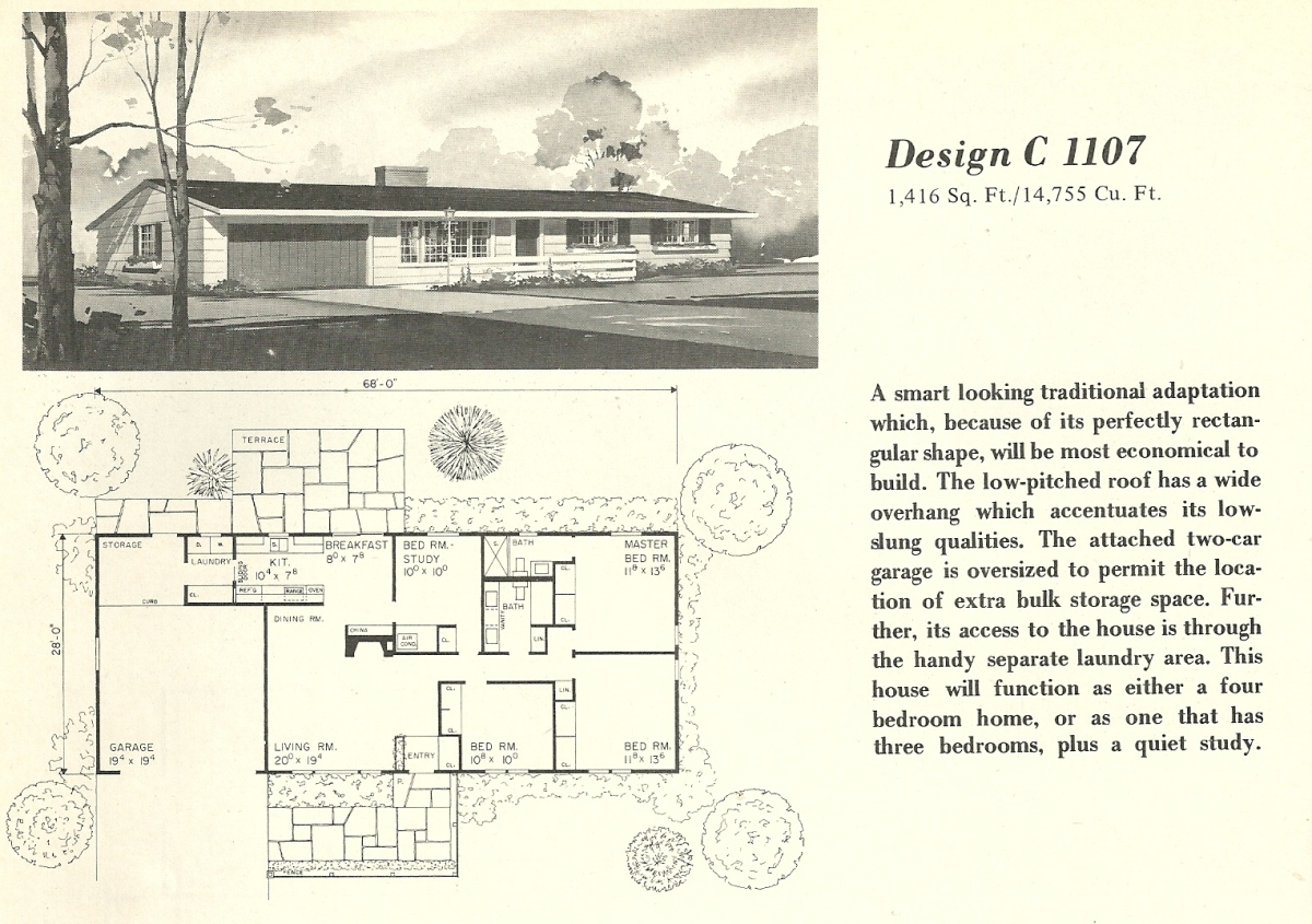 Vintage house plans 1107 antique alter ego for Vintage home floor plans