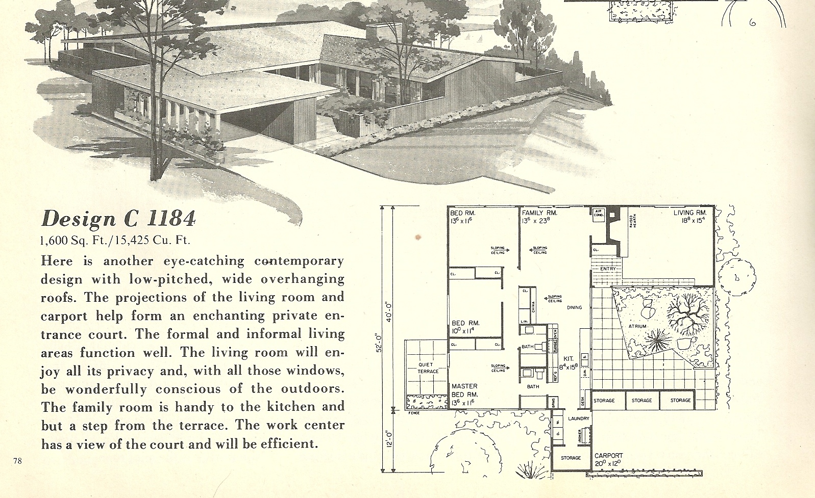 Vintage house plans 1184 antique alter ego for Mid century home plans