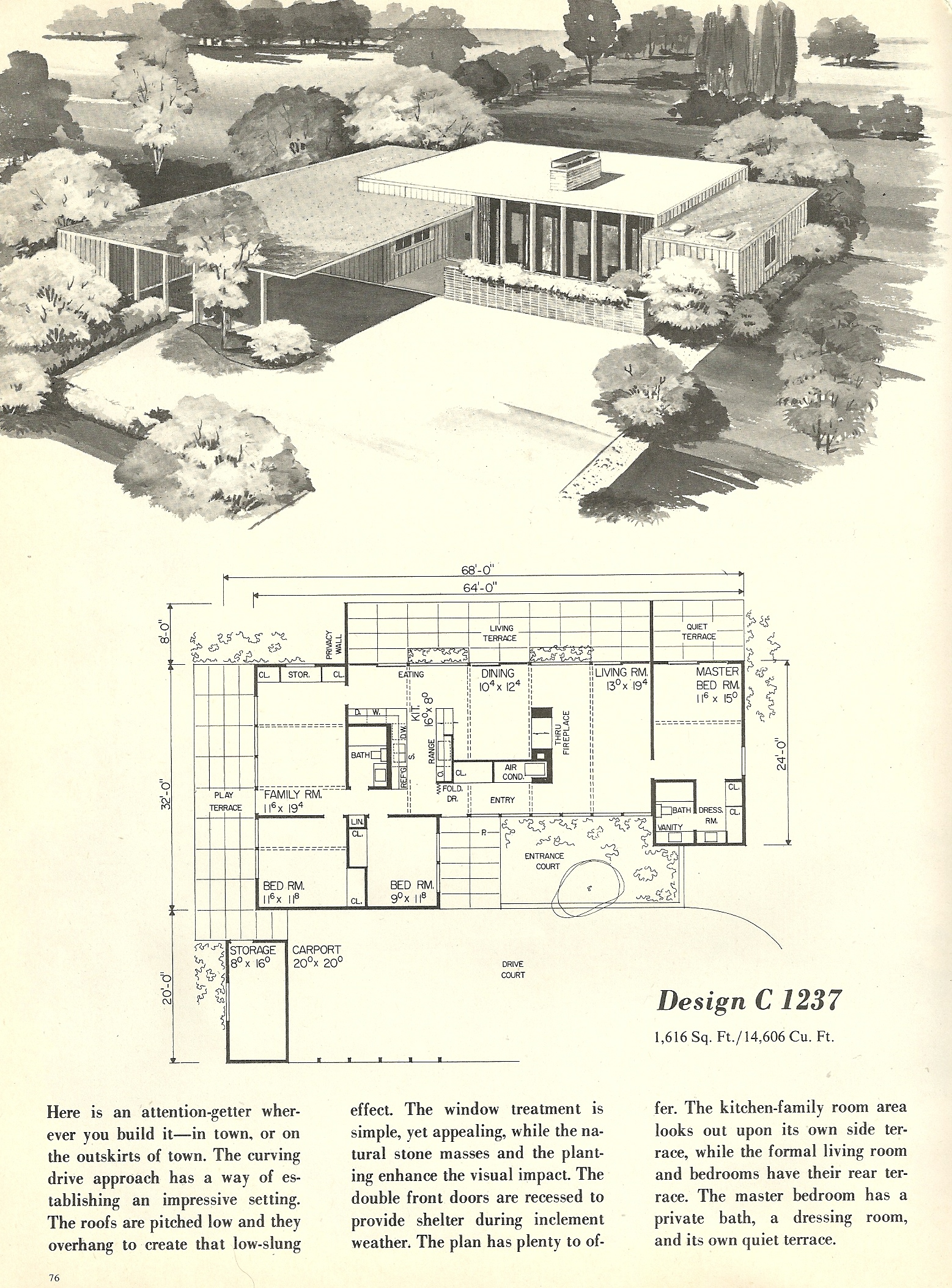 Vintage house plans 1237 antique alter ego for Mid century modern home floor plans