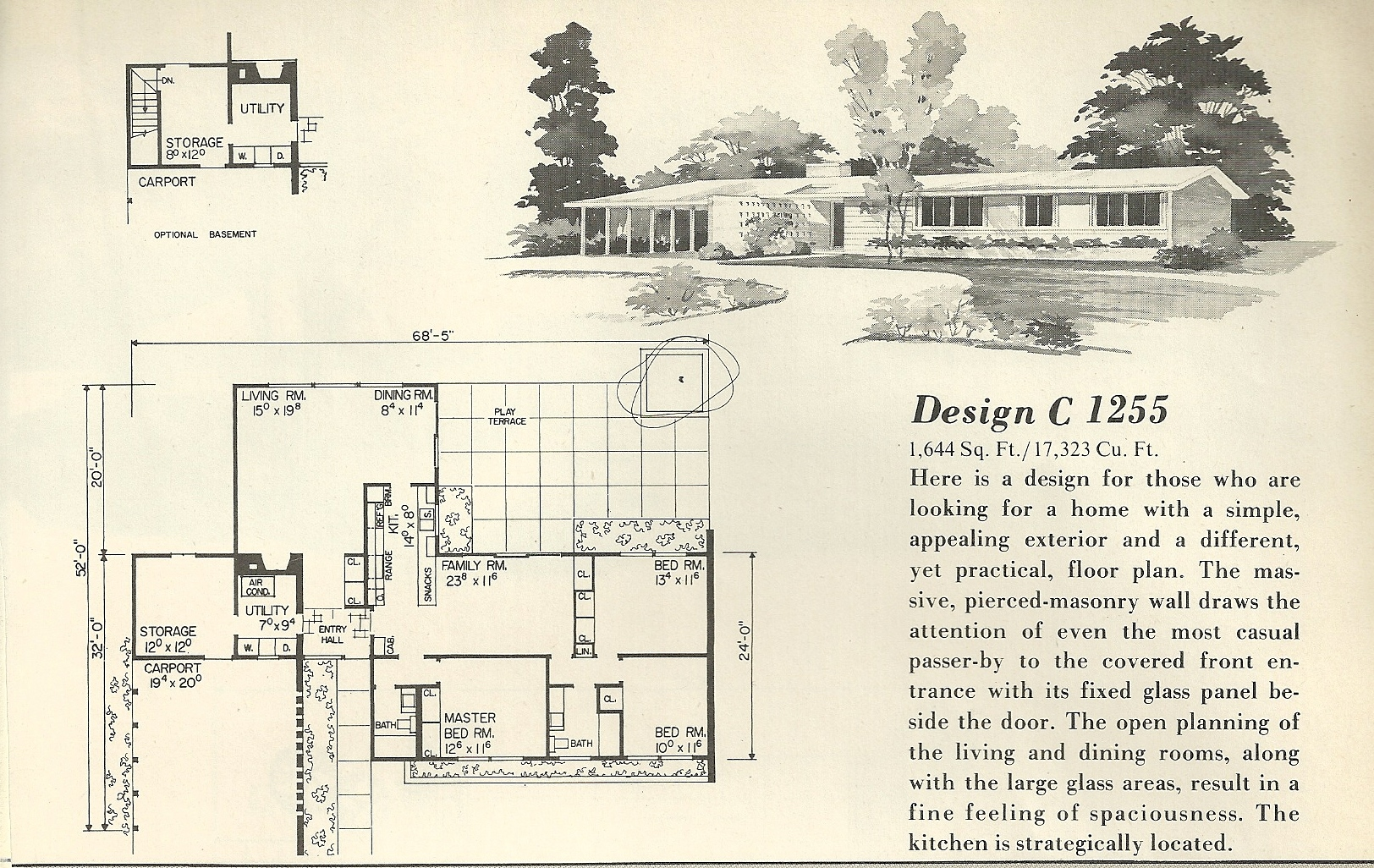Vintage house plans 1255 antique alter ego for Mid century home plans