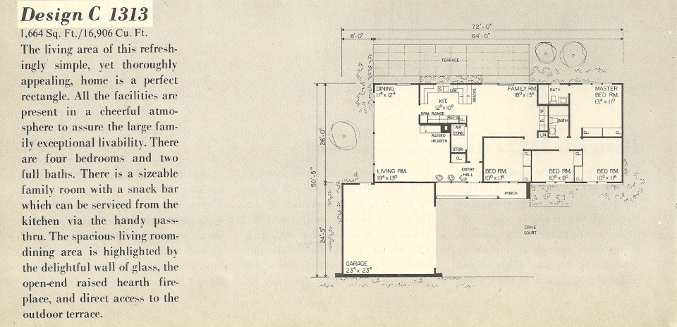 Vintage house plans 1313a antique alter ego for Single story mid century modern house plans