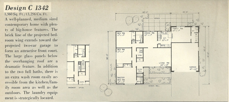 Vintage house plans 1342a antique alter ego for Single story mid century modern house plans
