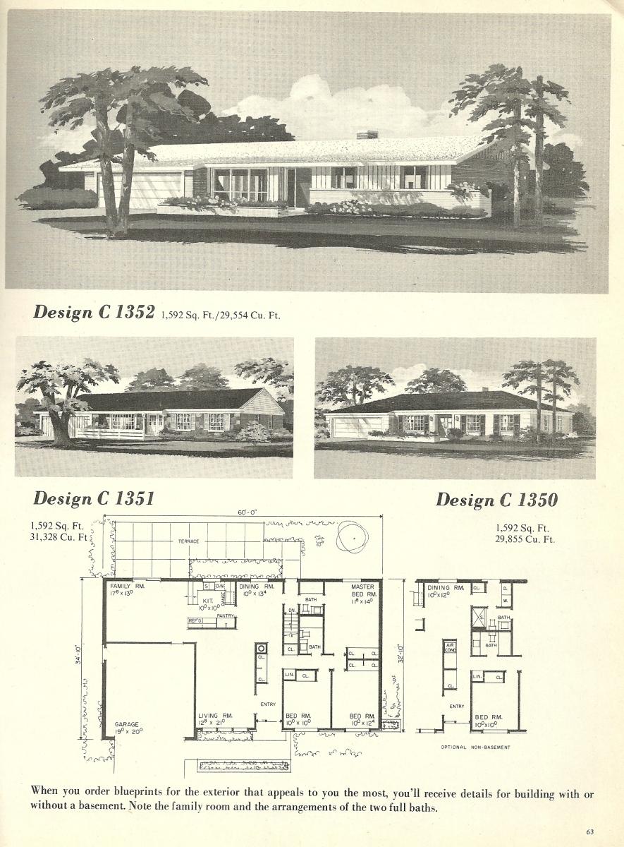 Vintage house plans 1352 antique alter ego for 1960s home floor plans