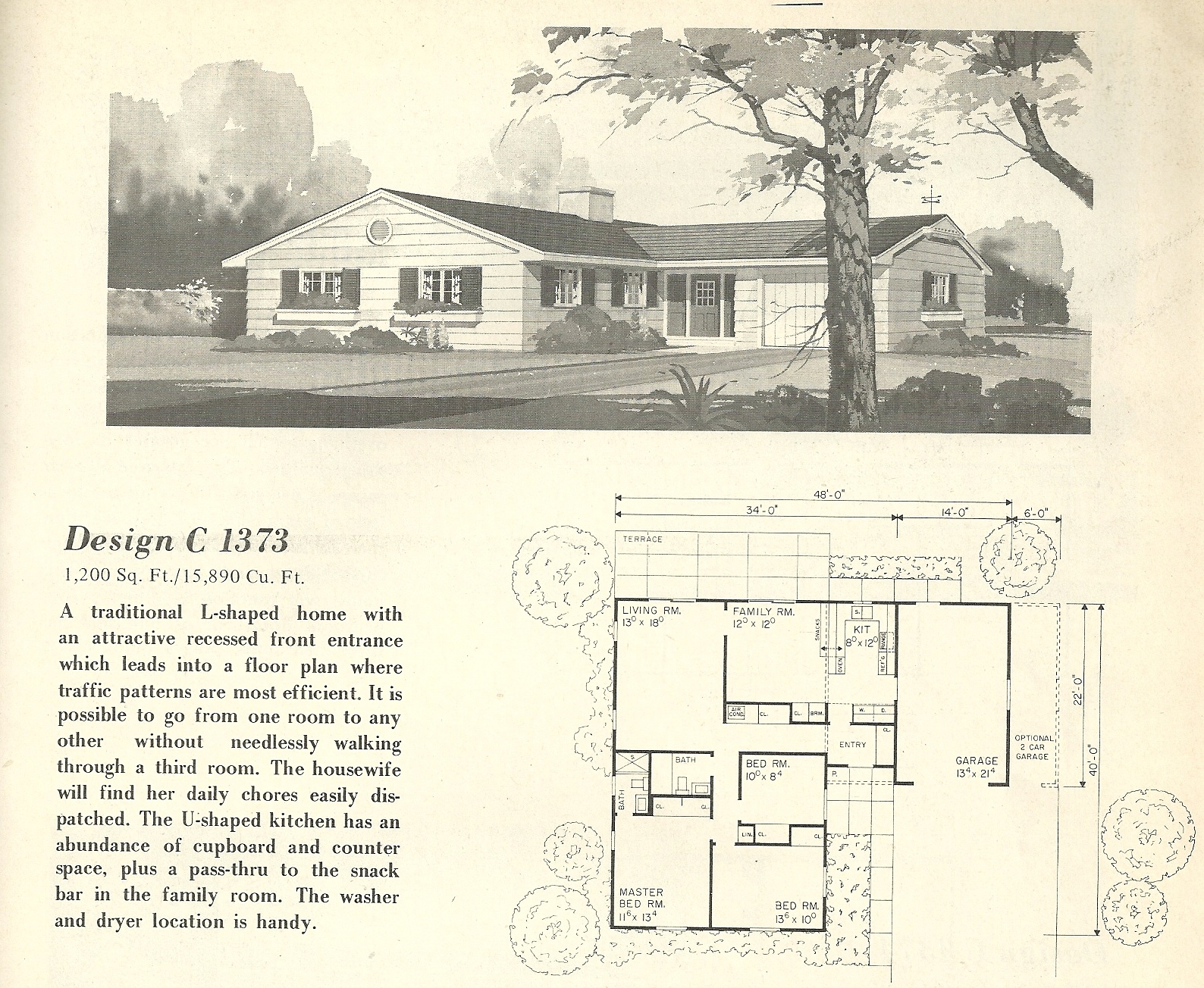 Vintage house plans 1373 antique alter ego for Vintage floor plans