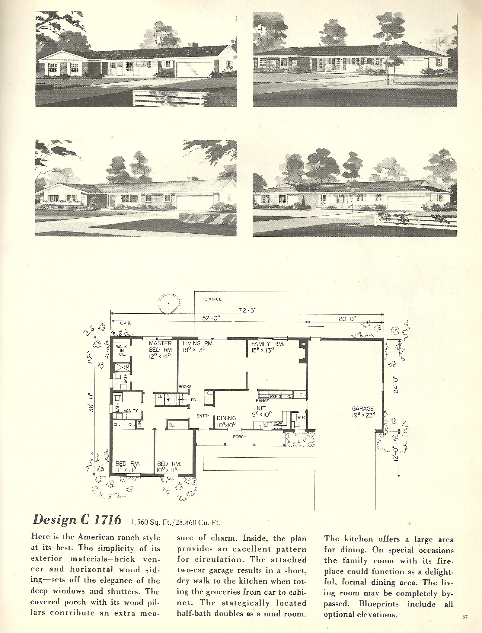 Vintage house plans 1716 antique alter ego for 1960s home floor plans