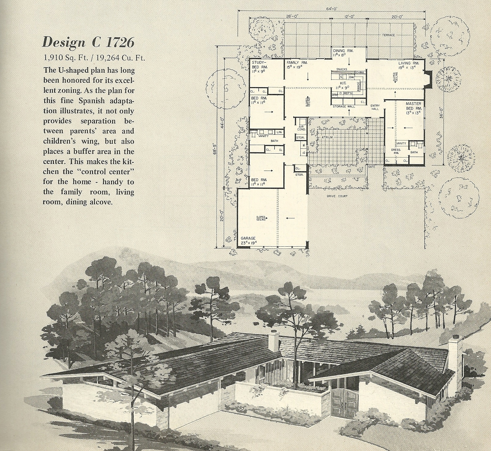 Vintage house plans 1726 for Mid century modern ranch style house plans