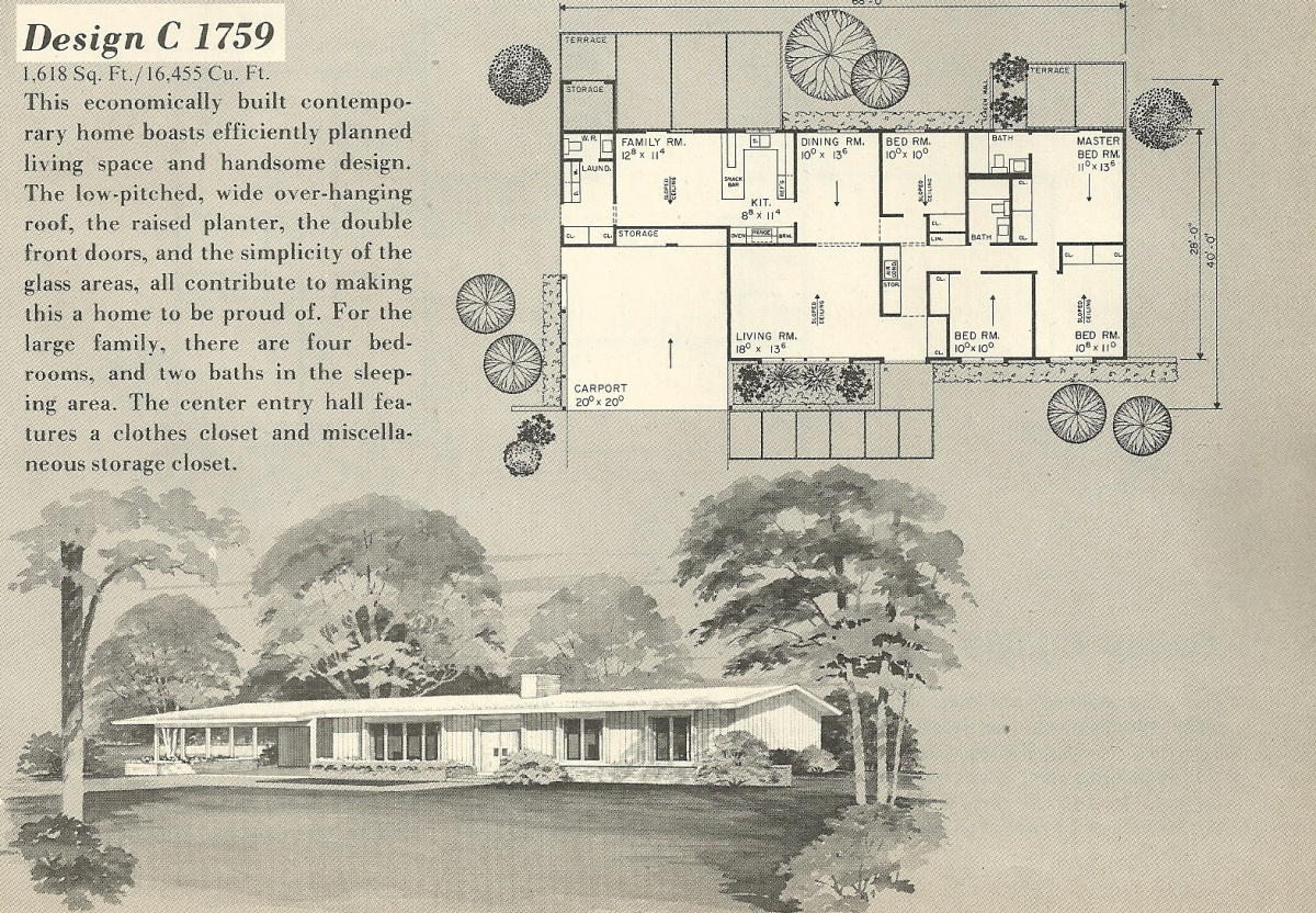 Vintage house plans 1759 antique alter ego for Single story mid century modern house plans