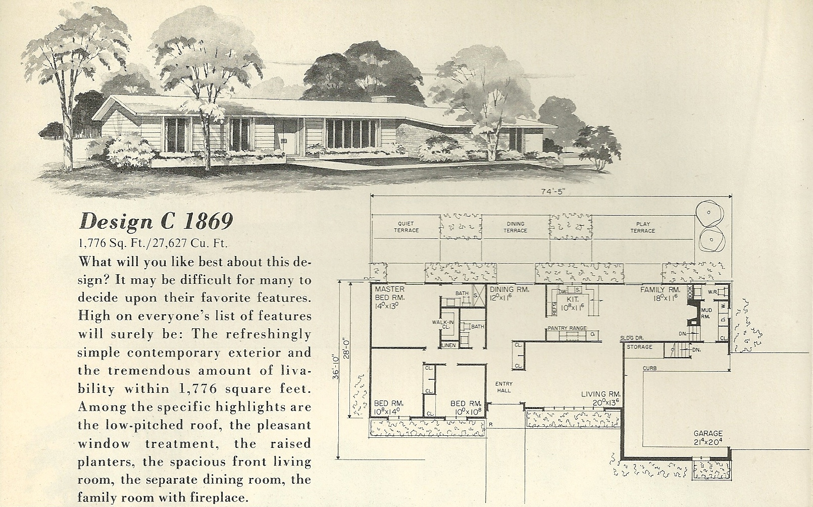 Vintage house plans 1869 antique alter ego for Mid century ranch home plans