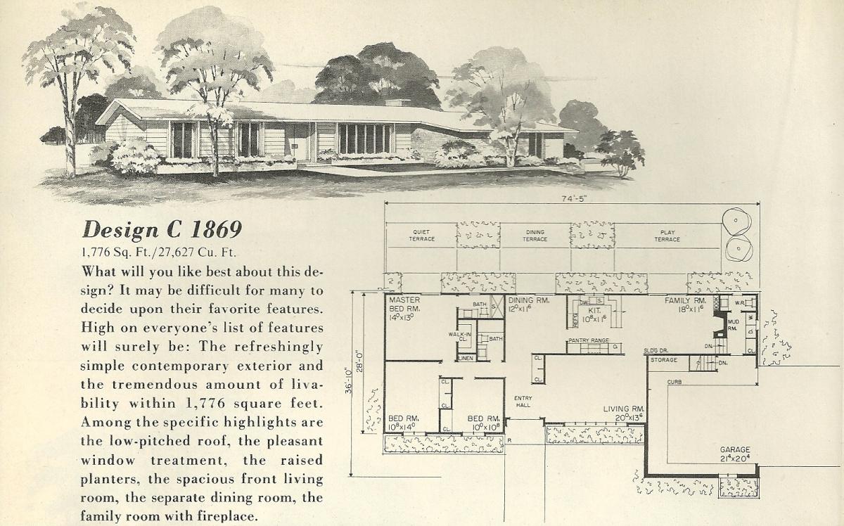 Vintage house plans 1869 antique alter ego for 1960 house plans