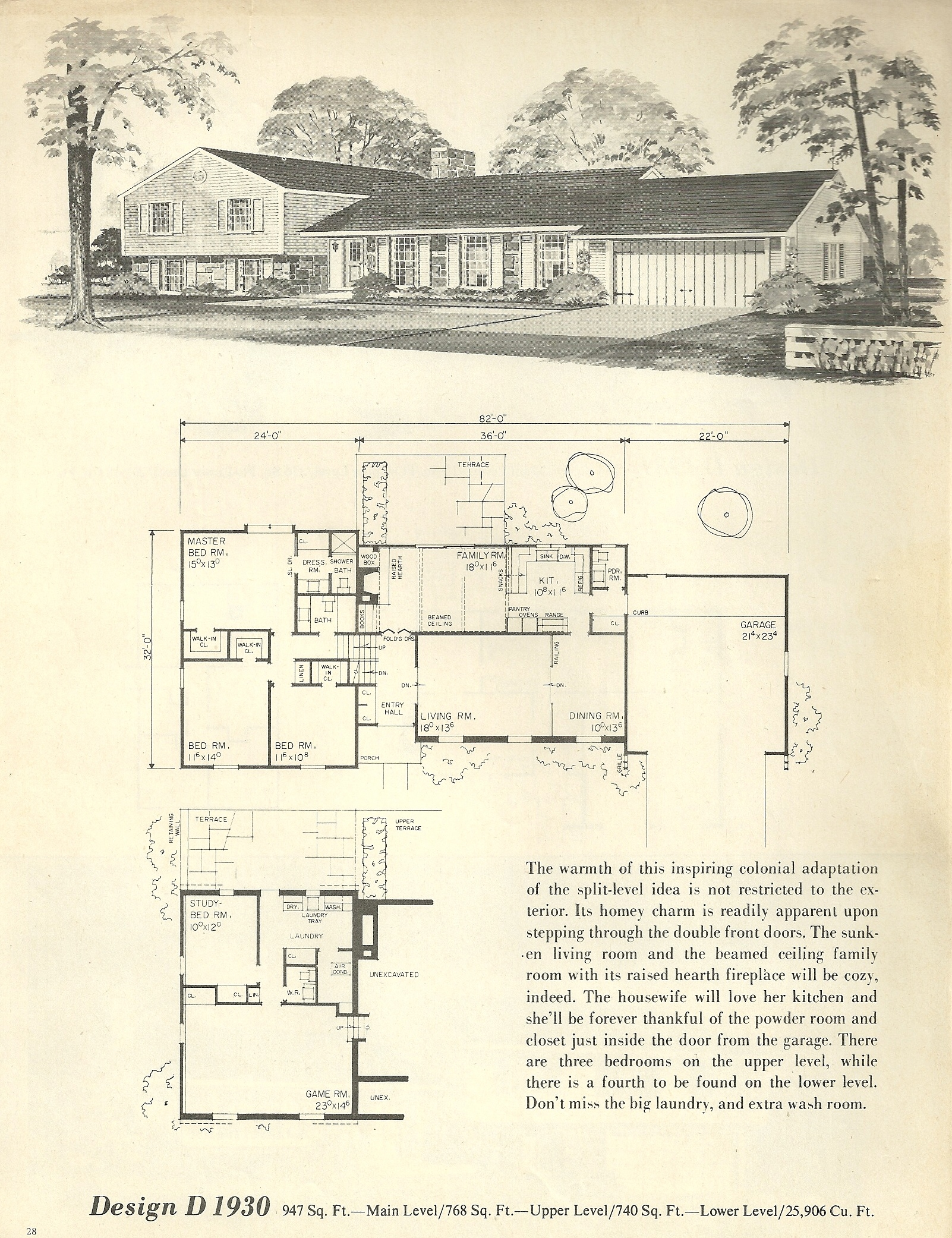 Vintage house plans 1930 antique alter ego for Single story mid century modern house plans