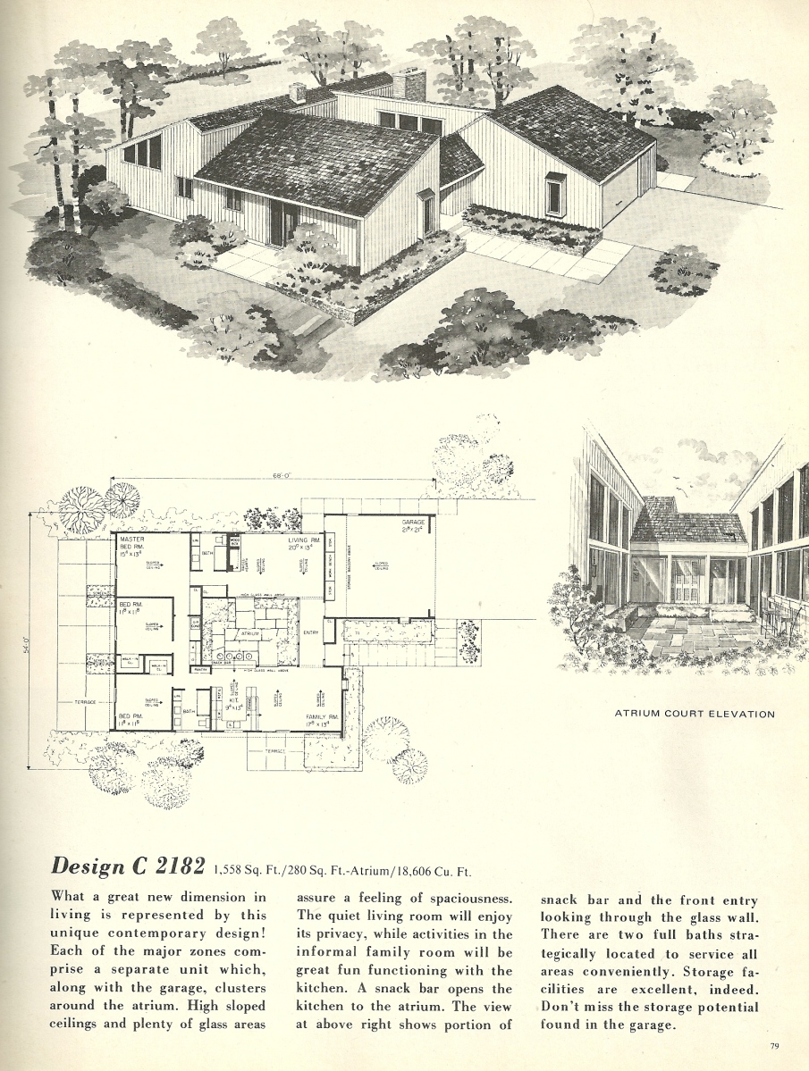Vintage house plans 2182 antique alter ego for Mid century home plans