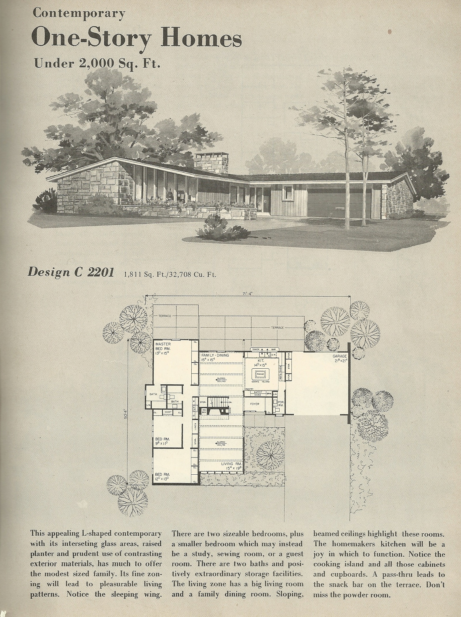 Vintage house plans 2201 antique alter ego for Mid century modern home floor plans