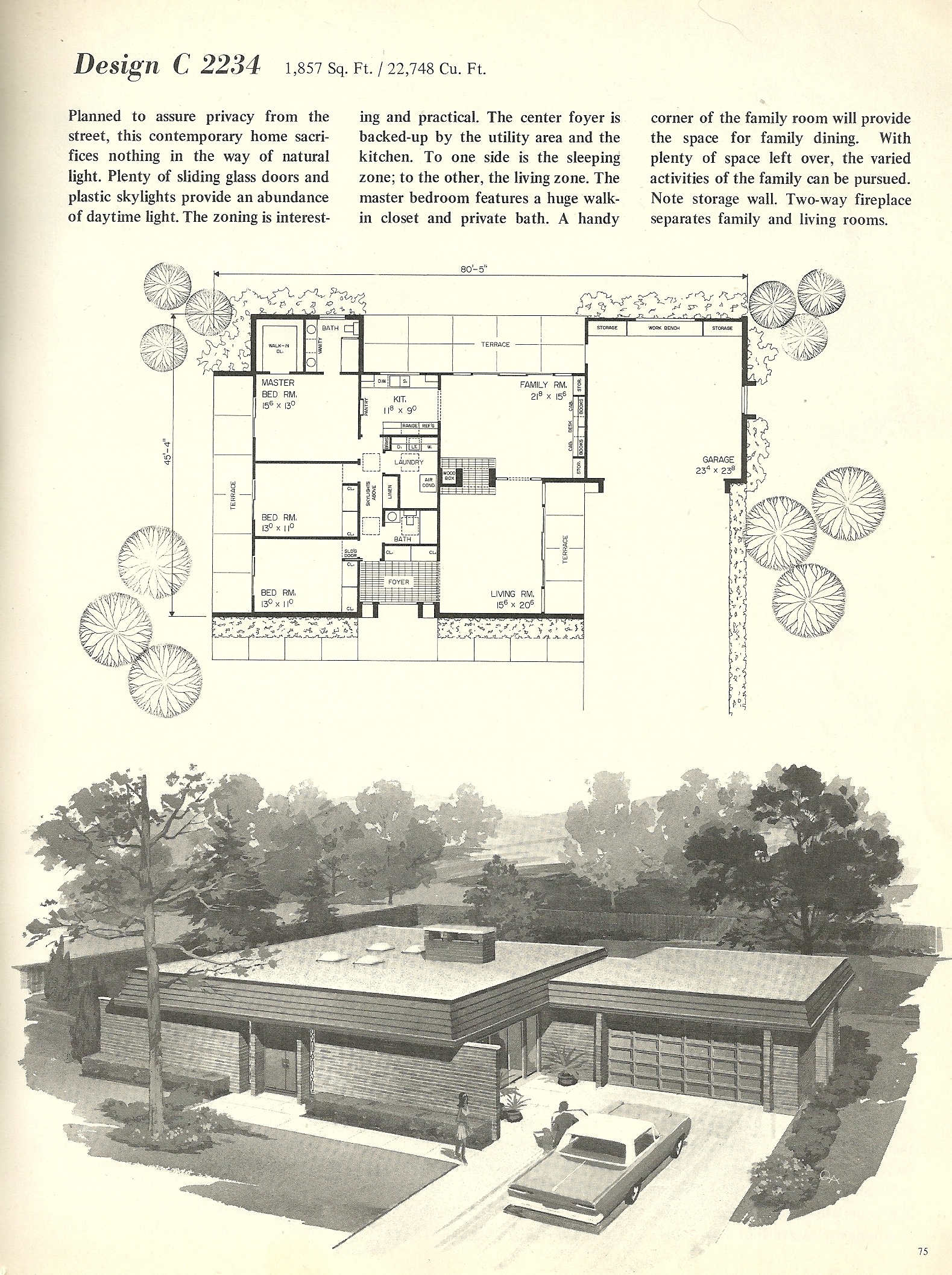 Vintage house plans 2234 antique alter ego for Mid century modern home floor plans