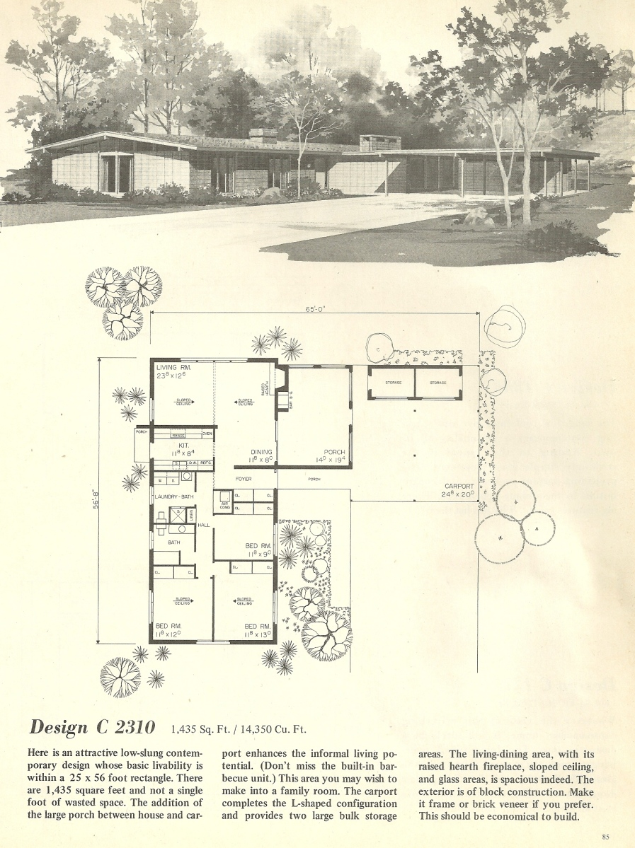 Vintage house plans 2310 antique alter ego for Mid century home plans