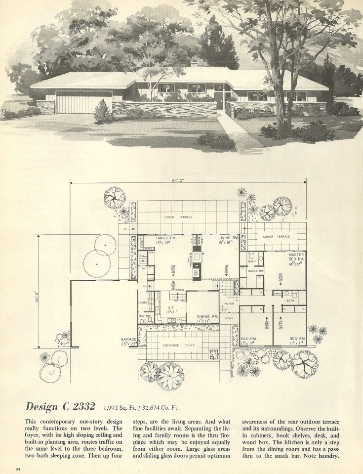 Vintage house plans 2332 antique alter ego for Single story mid century modern house plans