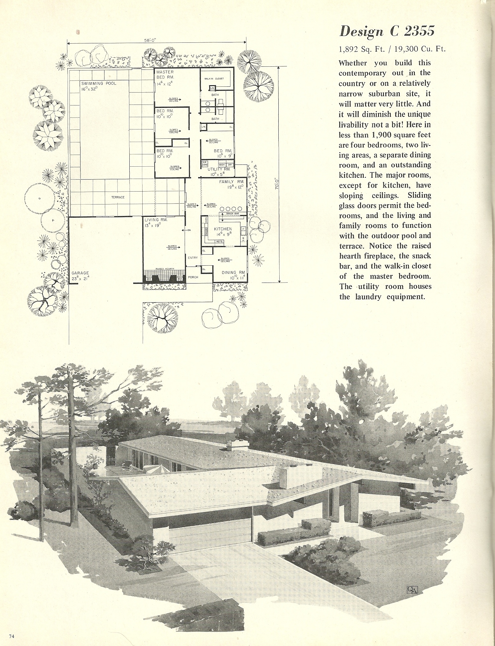 Vintage house plans 2355 antique alter ego for Retro modern house plans