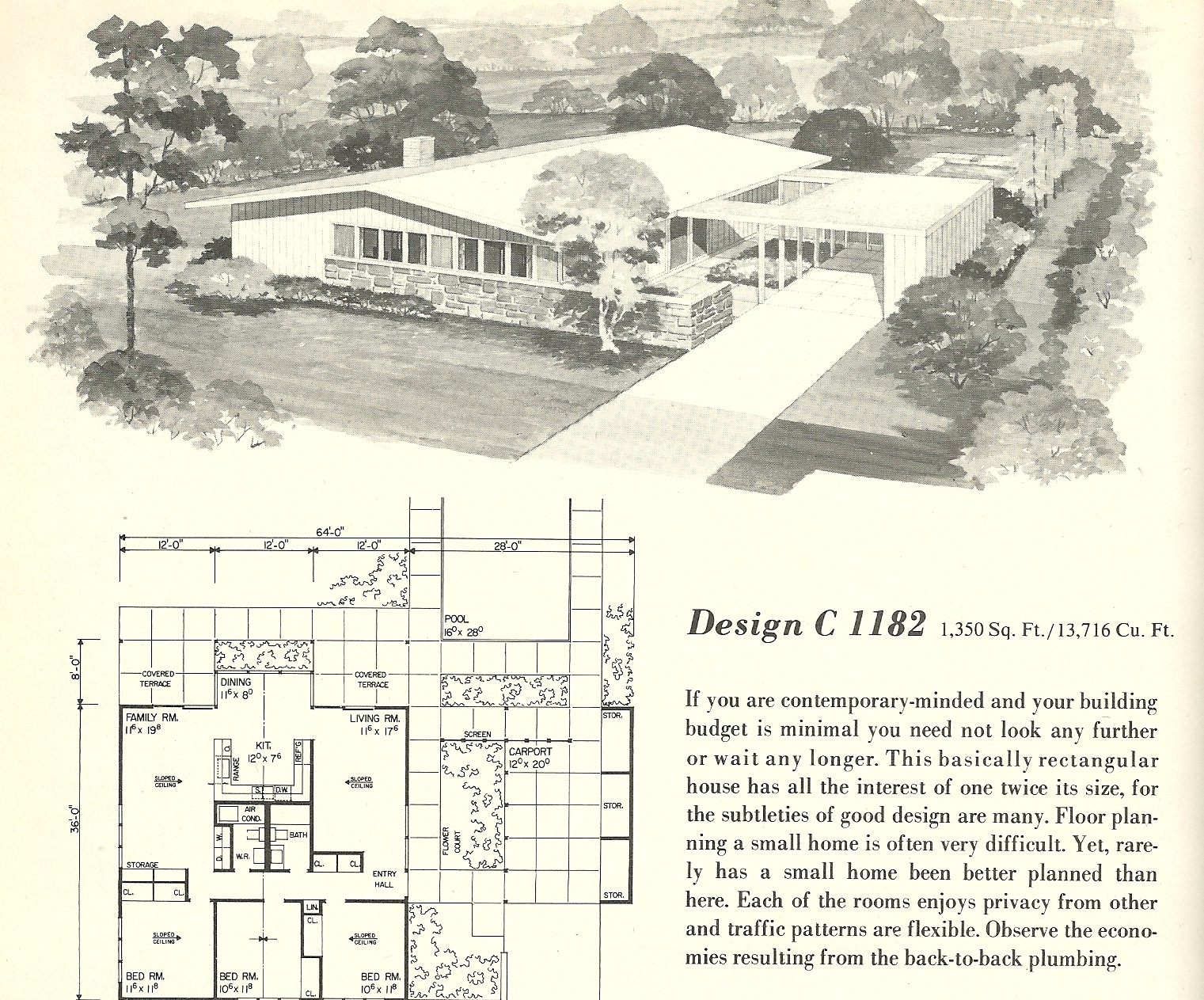 Vintage house plans 1182 antique alter ego for Mid century home plans