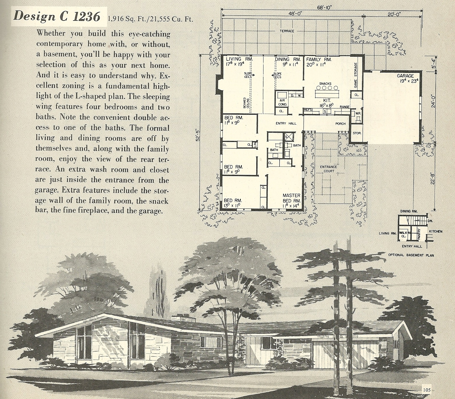 Vintage house plans 1236 antique alter ego for Mid century modern home floor plans