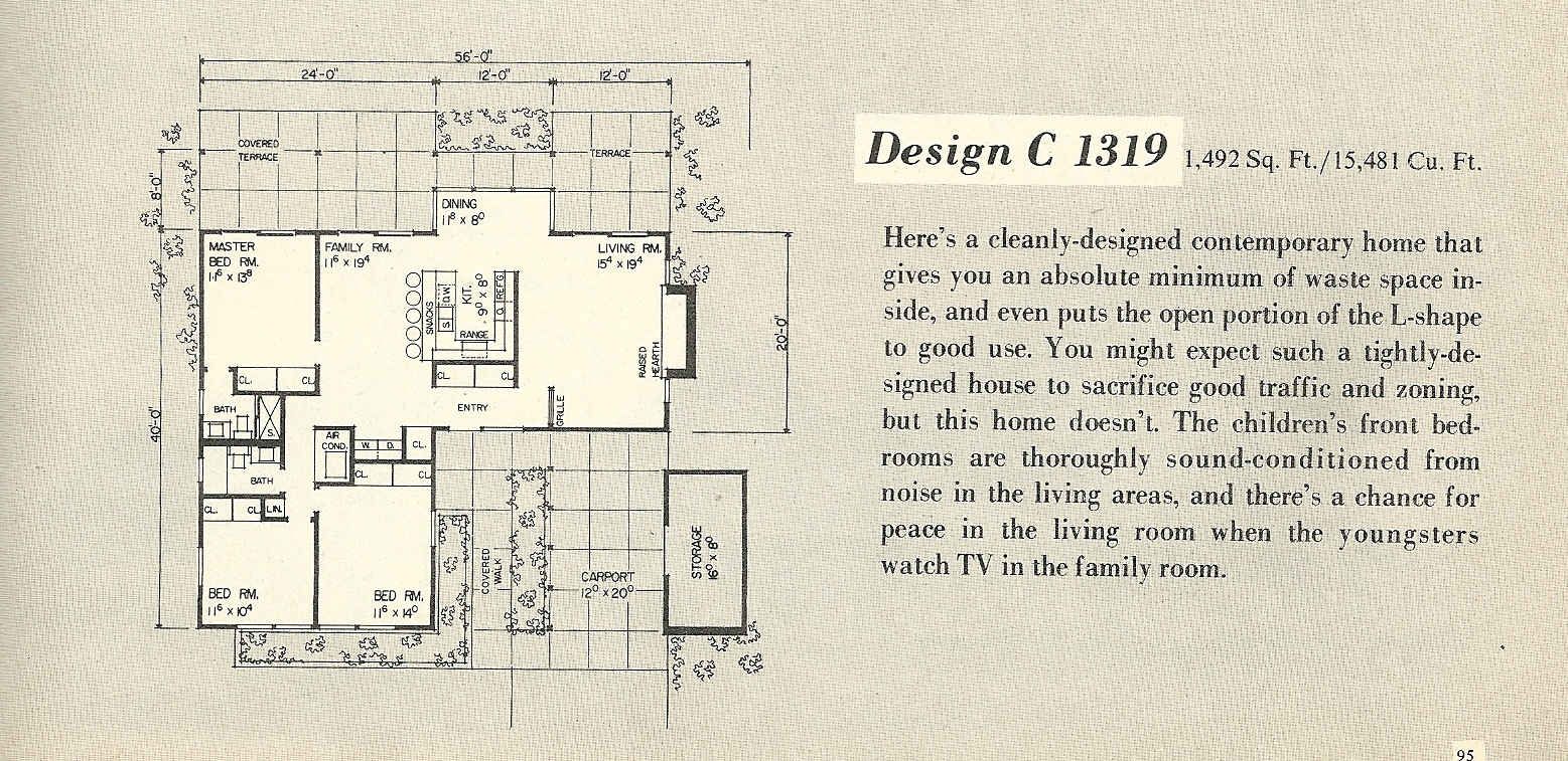 Vintage house plans 1319a antique alter ego for 1960s floor plans