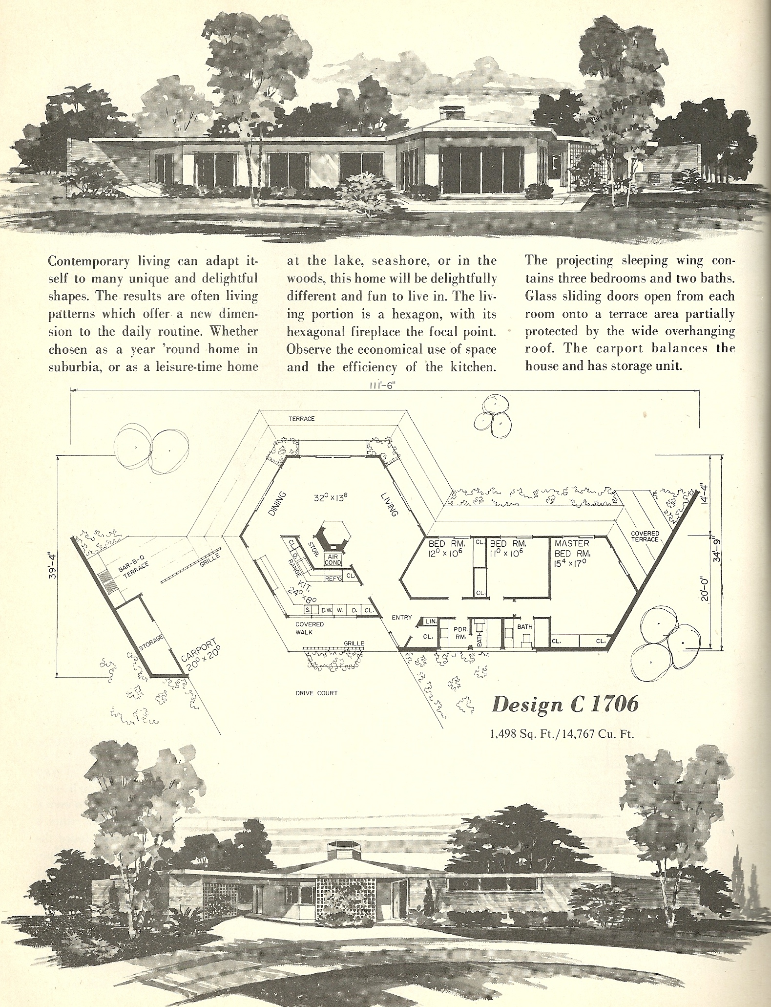 Vintage house plans 1706 antique alter ego for Retro modern house plans
