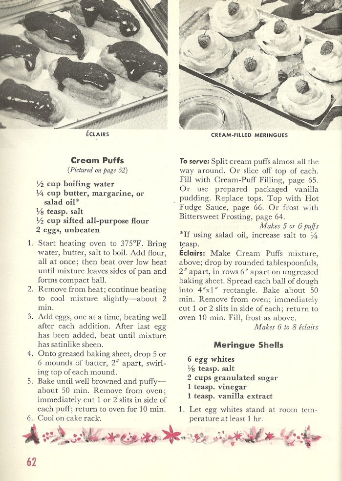 Vintage Recipes, cream puffs, eclairs, dessert pancakes