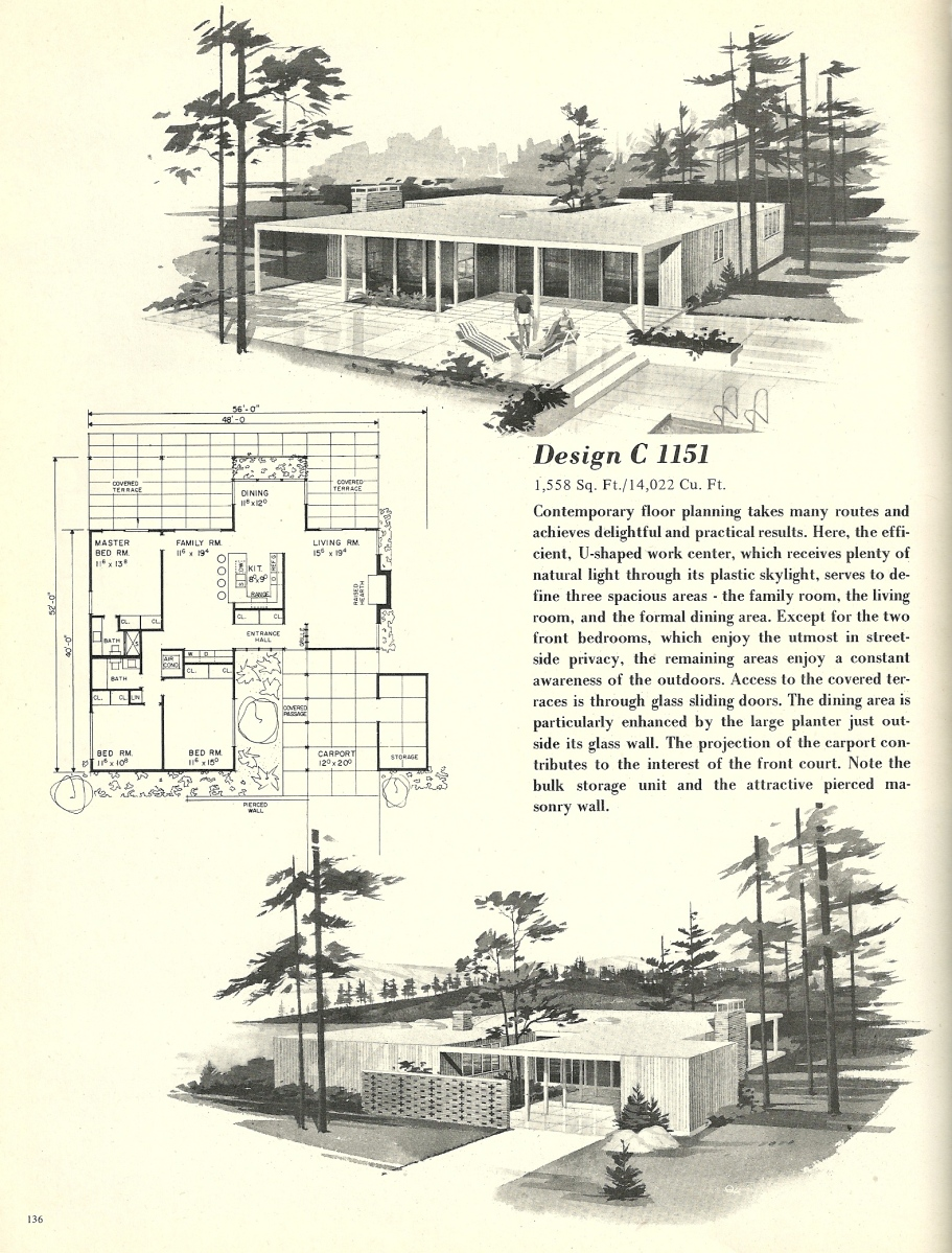 Vintage House Plans, 1960s Houses, Mid Century Homes