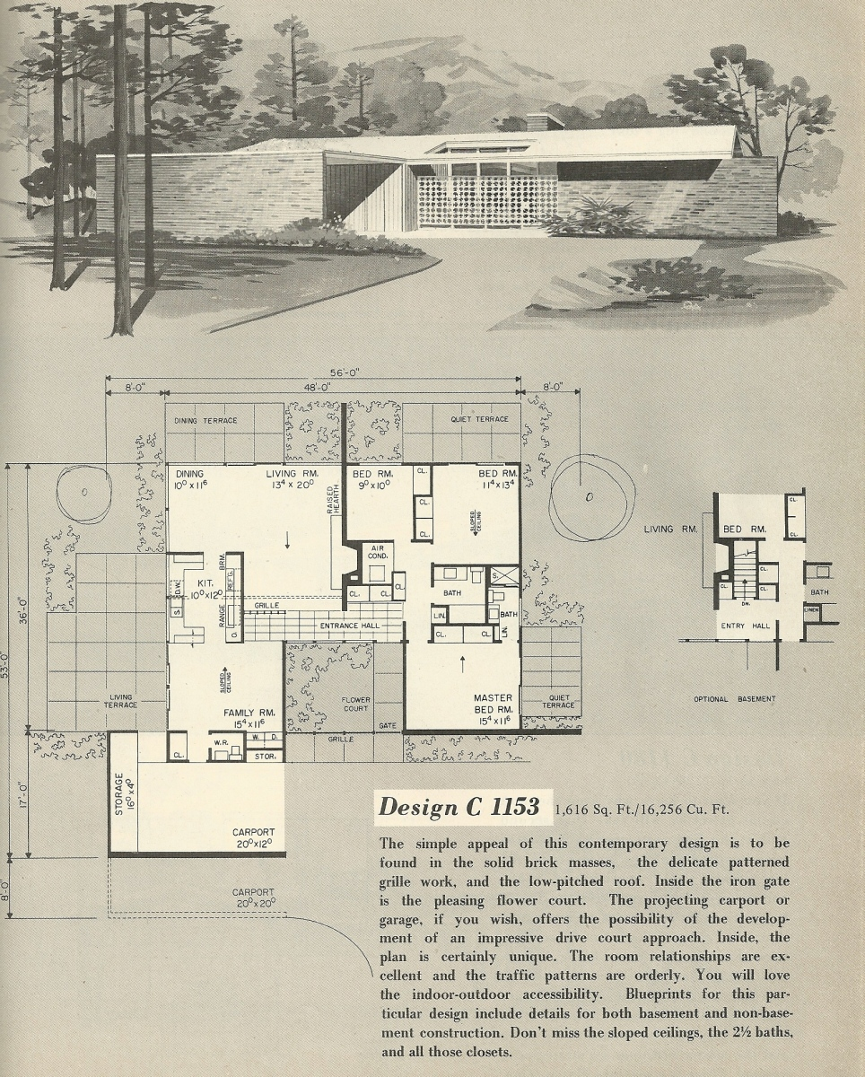 Vintage house plans 1153 antique alter ego for Retro modern house plans