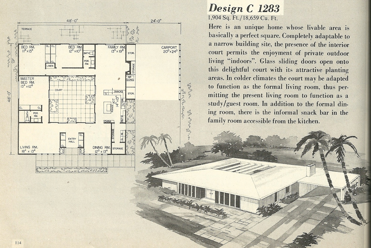 Vintage house plans 1283 antique alter ego for Retro modern house plans