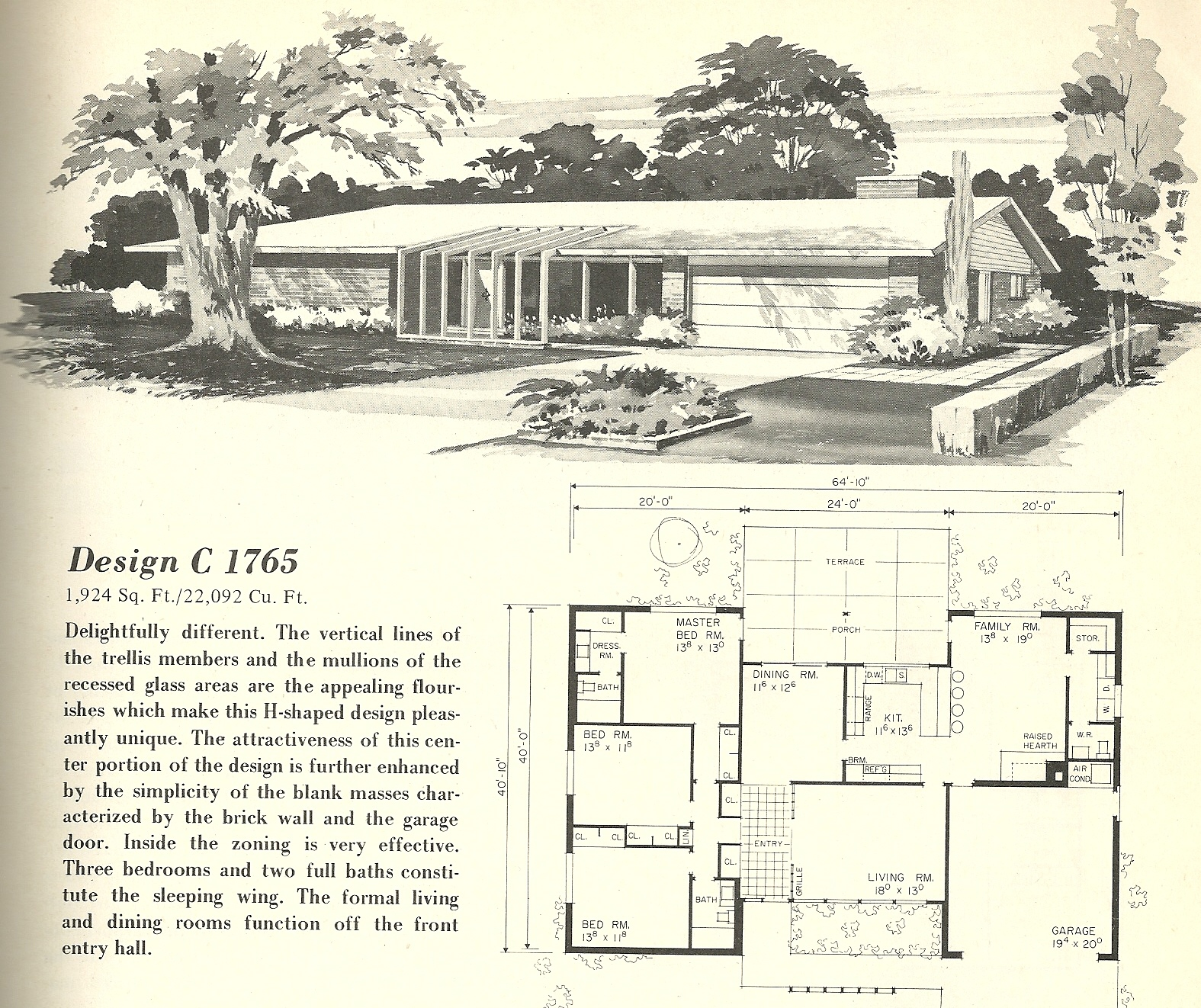 Vintage house plans 1765 antique alter ego for Mid century modern home floor plans