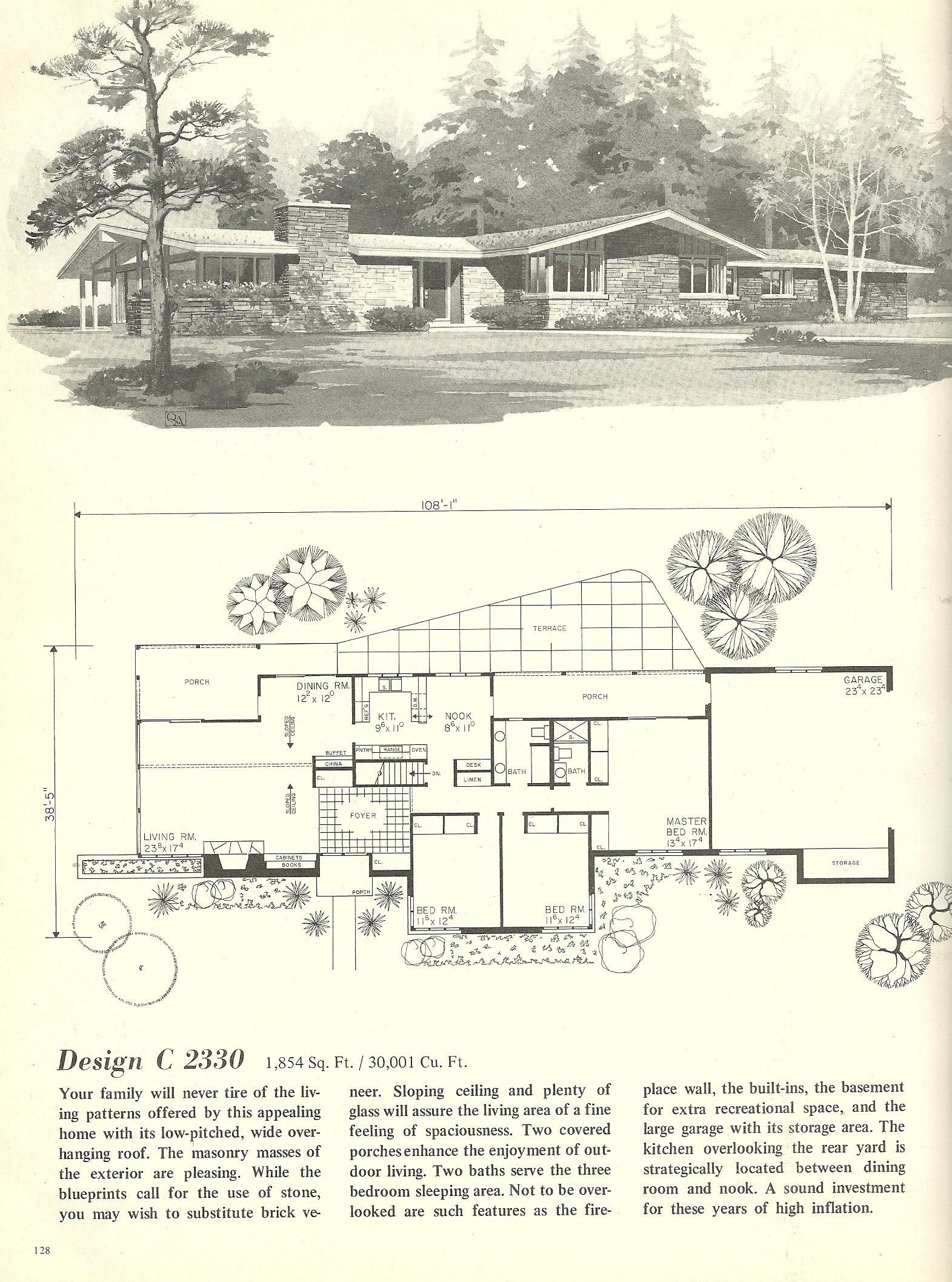 Vintage house plans 2330 antique alter ego for Retro house plans