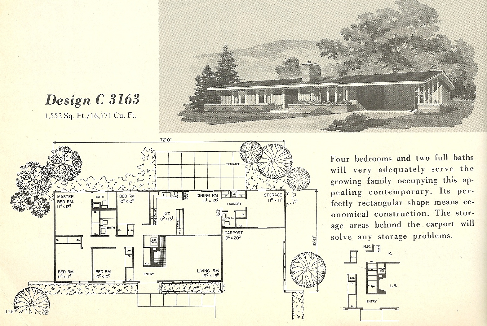 Vintage house plans 3163 antique alter ego for 1960 s home plans
