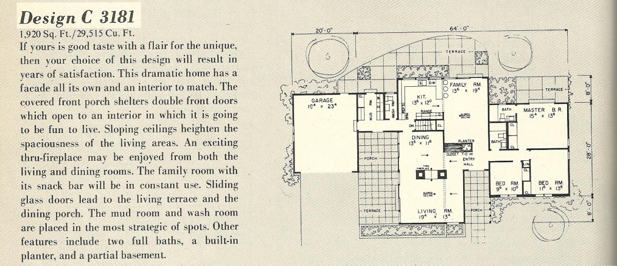Vintage House Plans, Mid Century Modern House Plans, 1960s House Plans