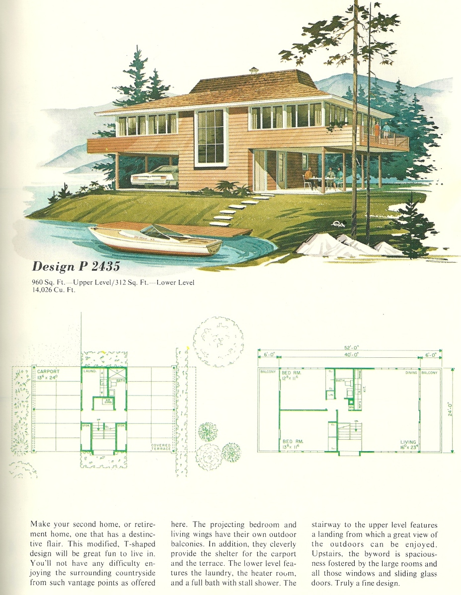 Vintage house plans vacation homes 2435 antique alter ego for Vacation home plans