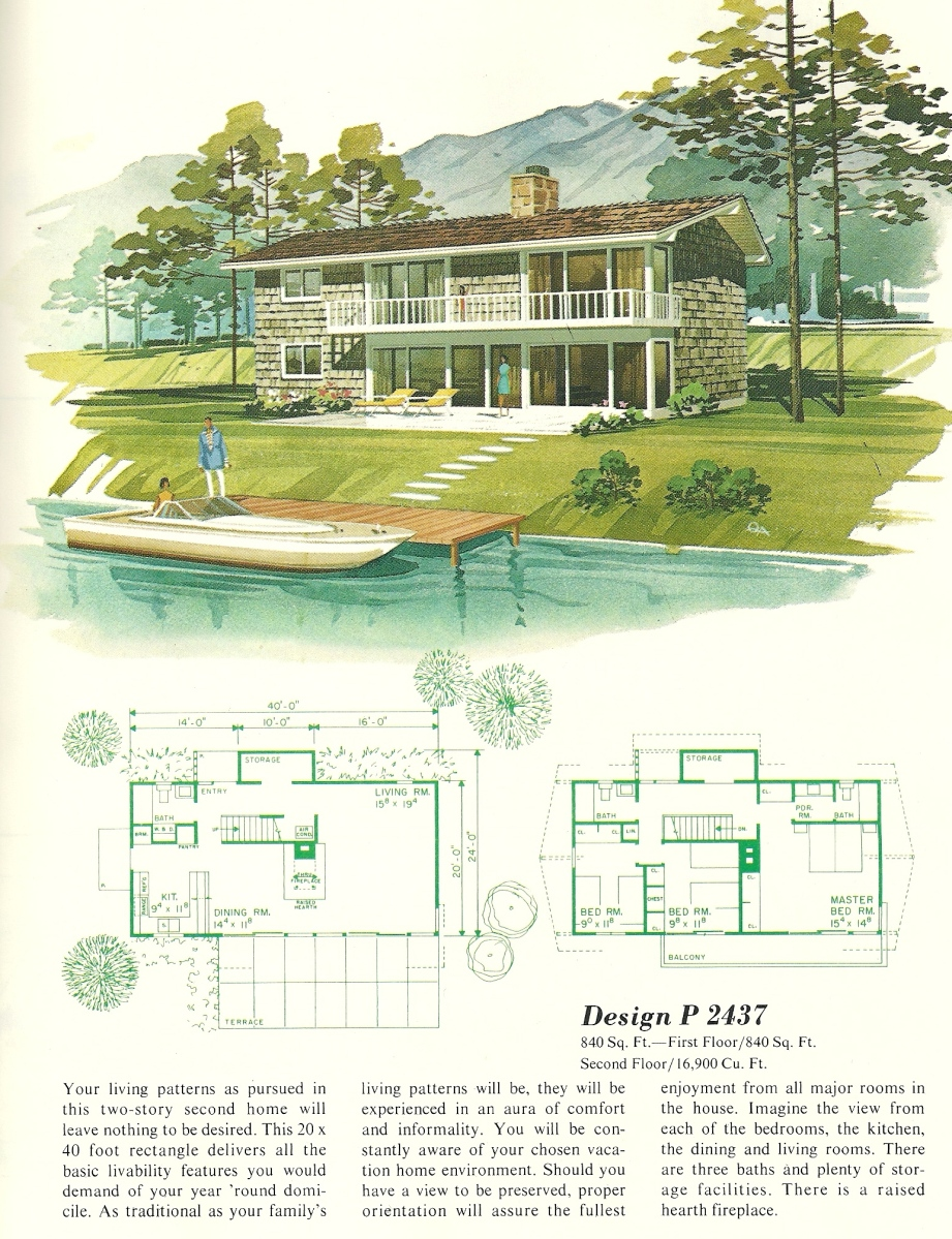 Vintage house plans vacation homes 2437 antique alter ego for 1960 s home plans
