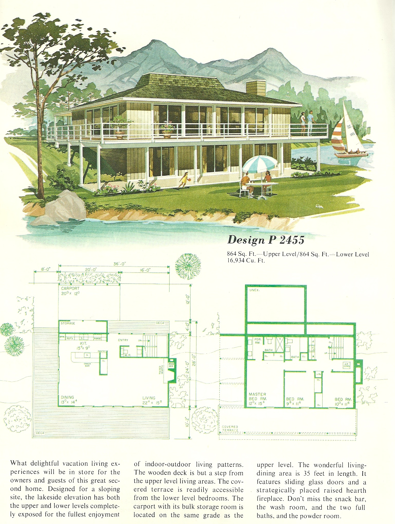 Vintage house plans vacation homes 2455 antique alter ego for Vacation home house plans