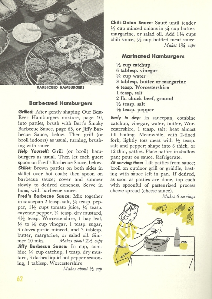 Vintage Recipes, BBQ, grilling, hamburger, hot dogs