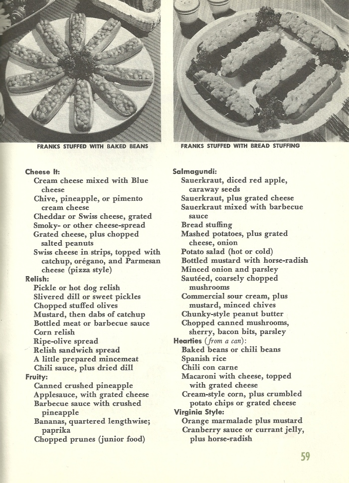 Vintage Recipes, broiled hamburgers, broiled, stuffed hot dogs