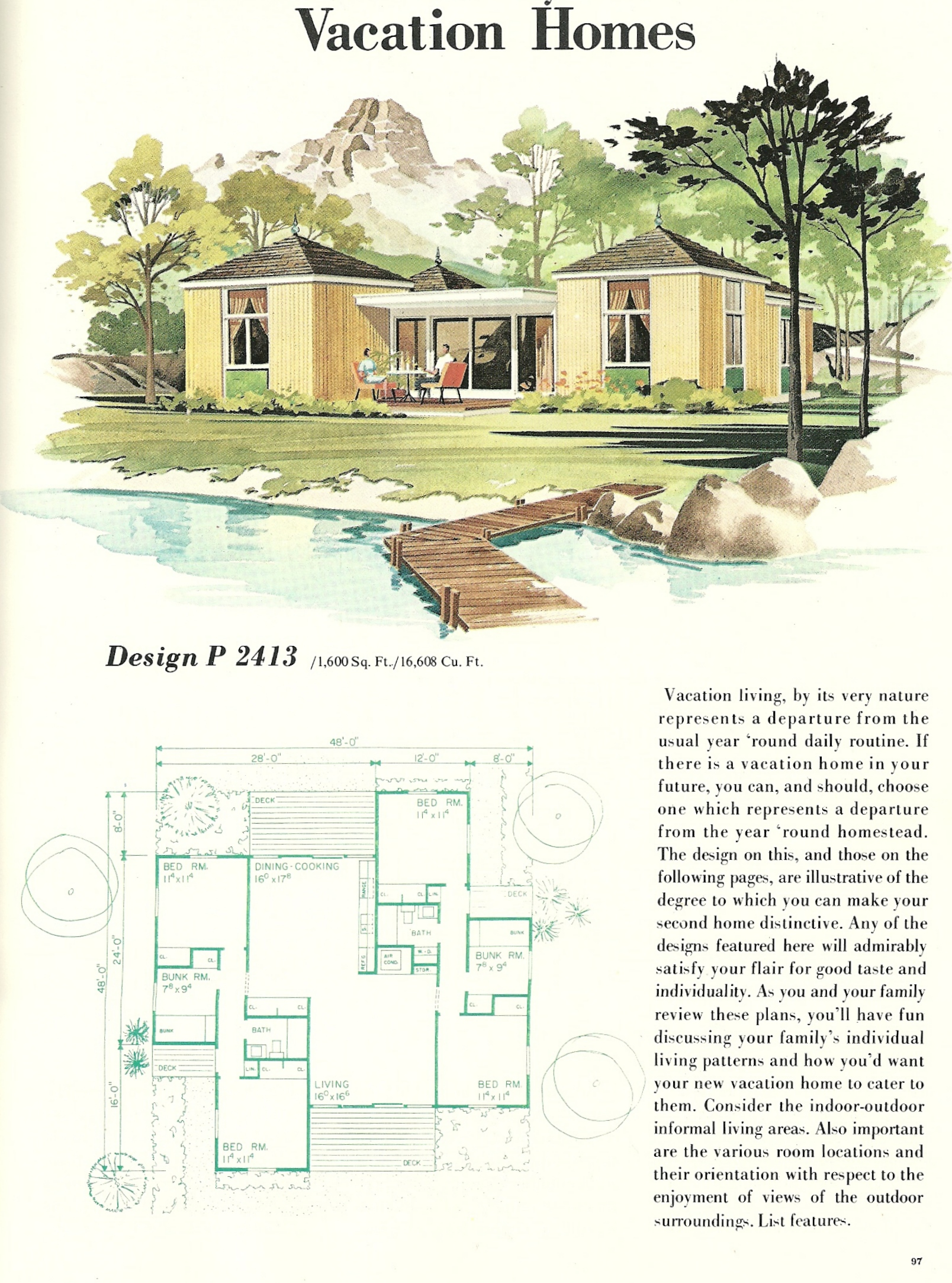 Vintage vacation home plans 2413 antique alter ego for 1960 house plans