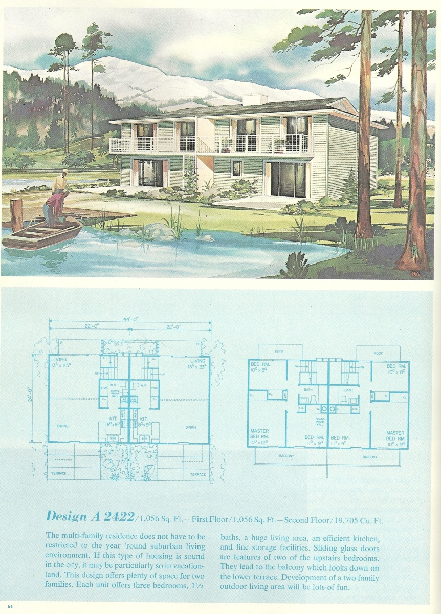 Vintage Vacation Homes, Mid century vacation homes, vacation house plans