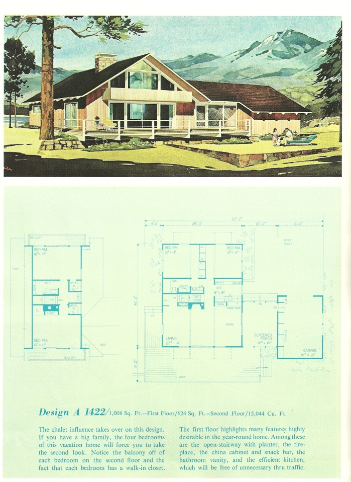 Vintage house plans 1960s cottages and second homes for Free vacation home plans