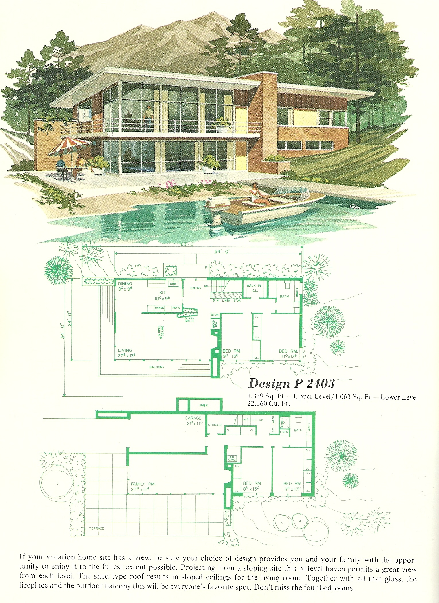 Vintage vacation homes 2403 antique alter ego for 1960 ranch house plans