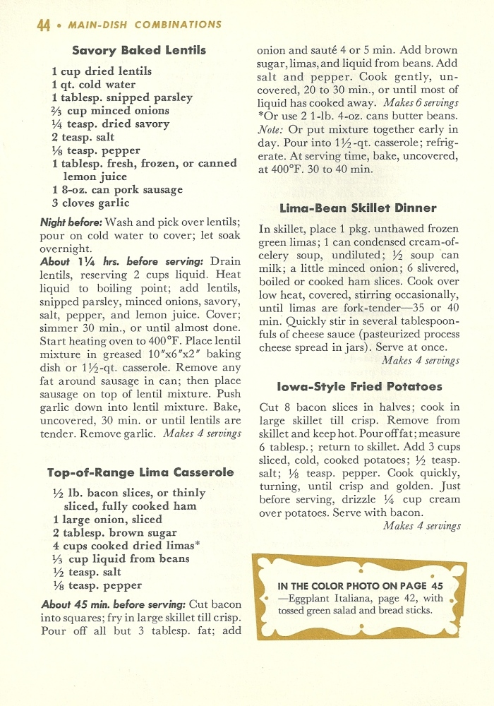 Vintage veggie recipes, vegetable recipes