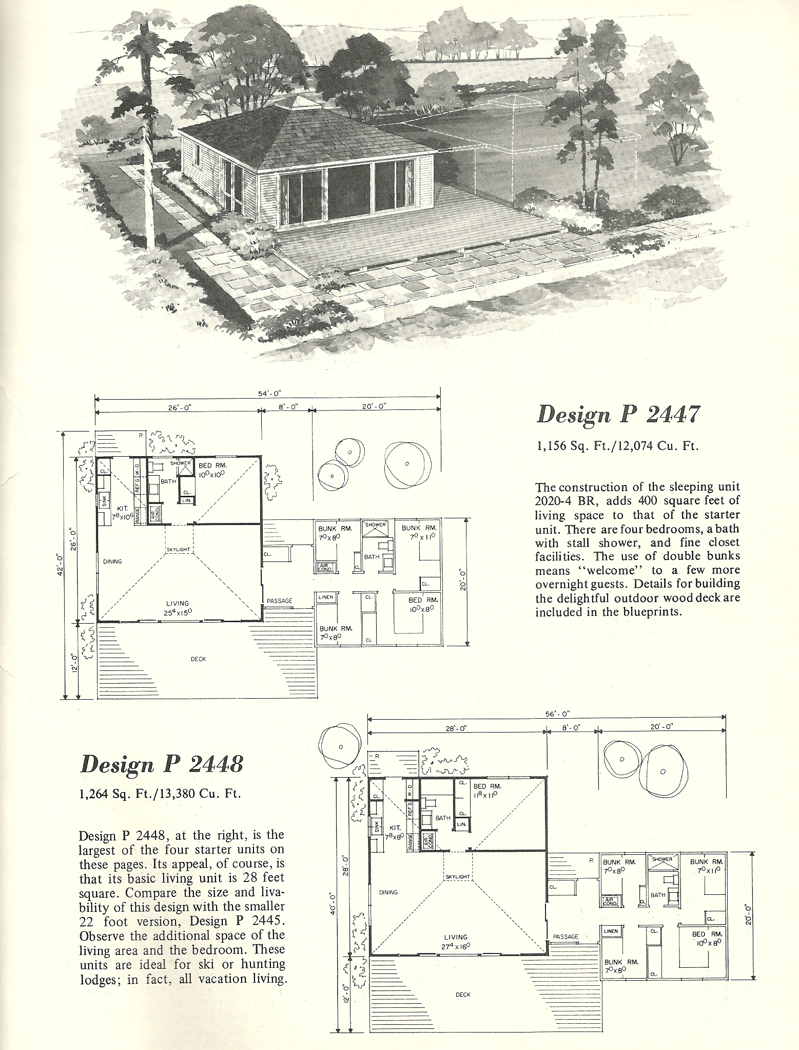 Vintage home plans cluster units 2447 antique alter ego for Cluster home plans