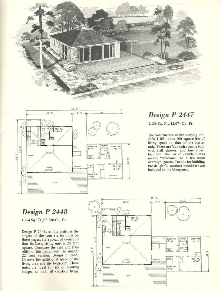 Vintage home plans cluster units 2447 antique alter ego for Cluster house plans